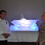 Barbara and the chef who carved the ship ice sculpture.