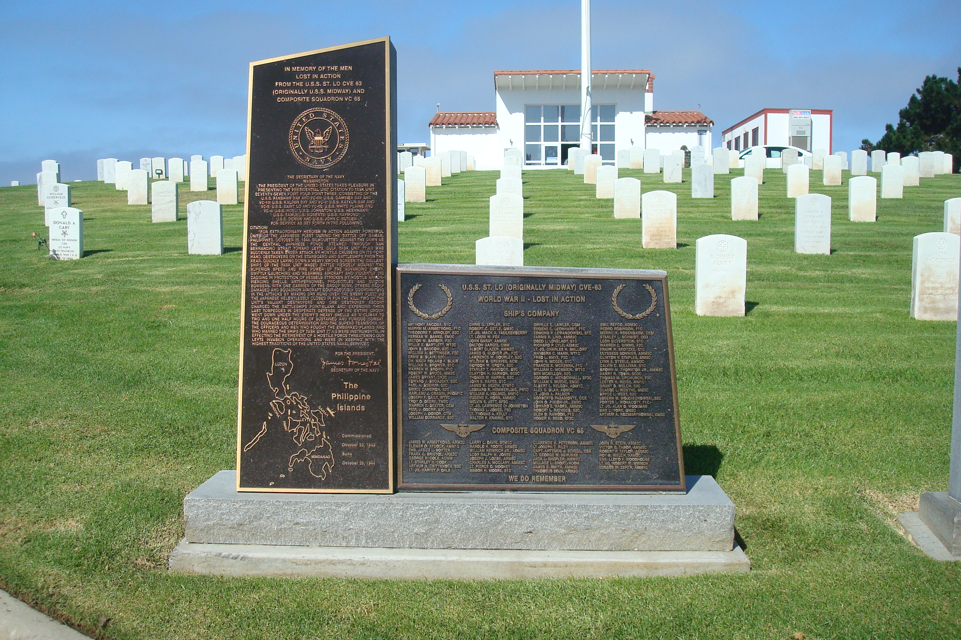 Monument to our fallen shipmates at Fort Rosecrans National Cemetery in San Diego, CA.